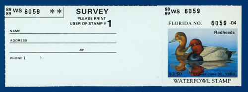 1988 Florida Waterfowl Stamp with survey tab (FL10h)
