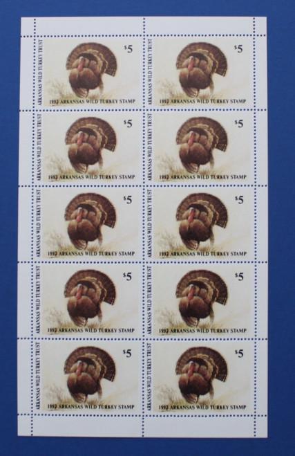 U.S. (ARWT08) 1992 Arkansas Wild Turkey Stamp Sheet
