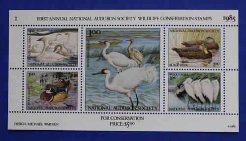 U.S. (ASWC01) 1985 National Audubon Society Wildlife Conservation Stamp Sheet