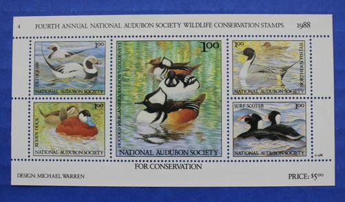 U.S. (ASWC04) 1988 National Audubon Society Wildlife Conservation Stamp Sheet