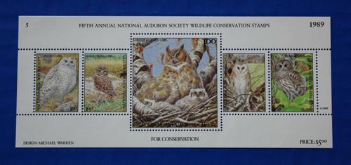U.S. (ASWC05) 1989 National Audubon Society Wildlife Conservation Stamp Sheet