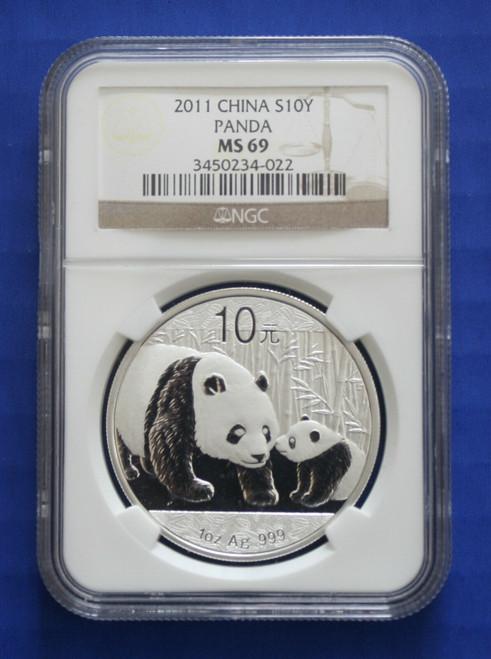 China - 2011 10 Yuan Silver Panda Coin (NGC MS69)