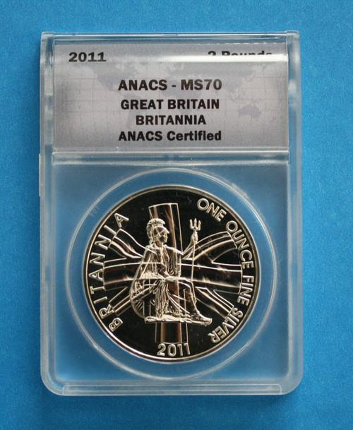 GREAT BRITAIN - 2011 Silver Britannia (ANACS MS70)