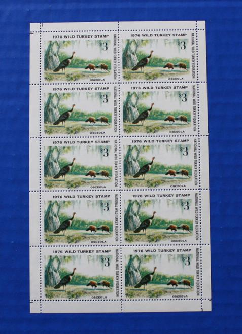 U.S. (NWTF01) 1976 National Wild Turkey Federation Wild Turkey Stamp Sheet