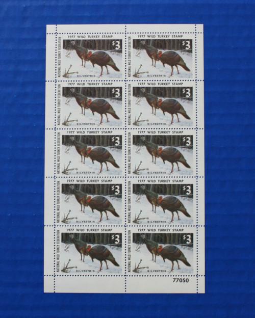 U.S. (NWTF02) 1977 National Wild Turkey Federation Wild Turkey Stamp Sheet