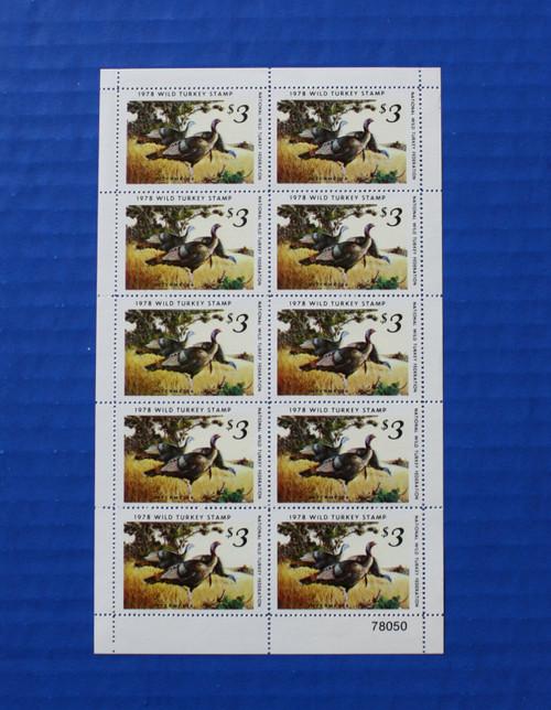 U.S. (NWTF03) 1978 National Wild Turkey Federation Wild Turkey Stamp Sheet