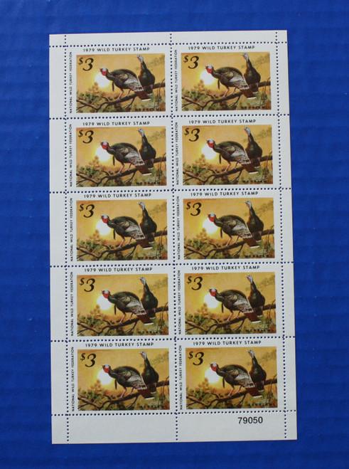 U.S. (NWTF04) 1979 National Wild Turkey Federation Wild Turkey Stamp Sheet