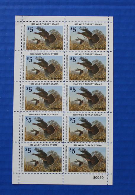 U.S. (NWTF05) 1980 National Wild Turkey Federation Wild Turkey Stamp Sheet