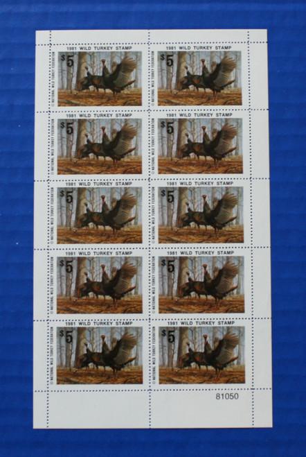 U.S. (NWTF06) 1981 National Wild Turkey Federation Wild Turkey Stamp Sheet