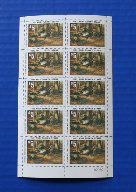U.S. (NWTF07) 1982 National Wild Turkey Federation Wild Turkey Stamp Sheet