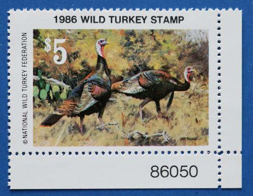U.S. (NWTF11) 1986 National Wild Turkey Federation Wild Turkey Stamp (PNS)