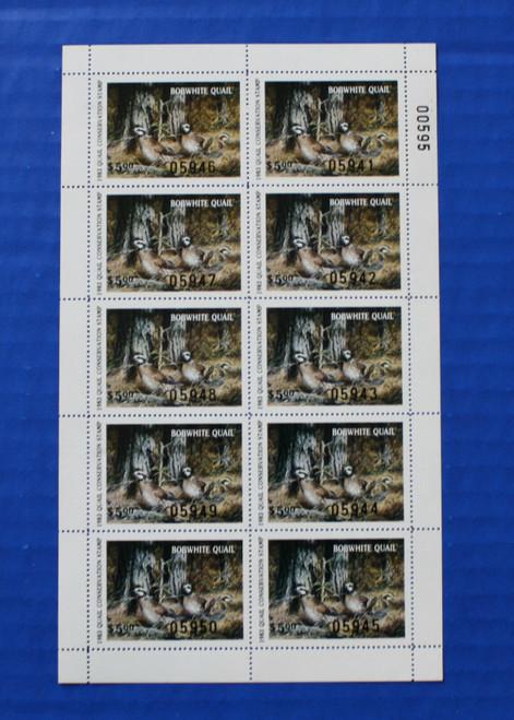 U.S. (QUUL02) 1983 Quail Unlimited Quail Conservation Stamp Sheet