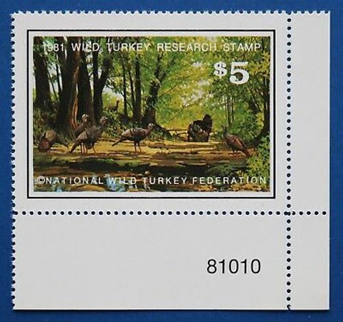 U.S. (WTRS03) 1981 NWTF Wild Turkey Research Stamp (PNS)