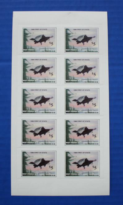 U.S. (WVWT01) 1986 West Virginia Wild Turkey Federation Stamp Sheet