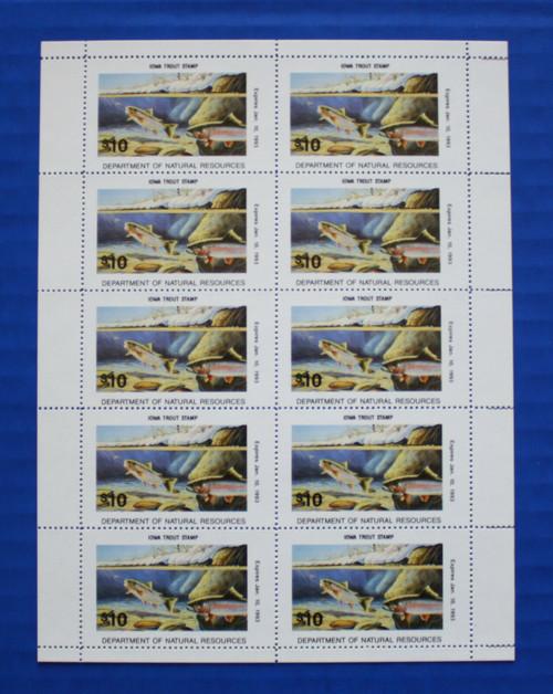 U.S. (IAT32) 1992 Iowa Trout Stamp sheet