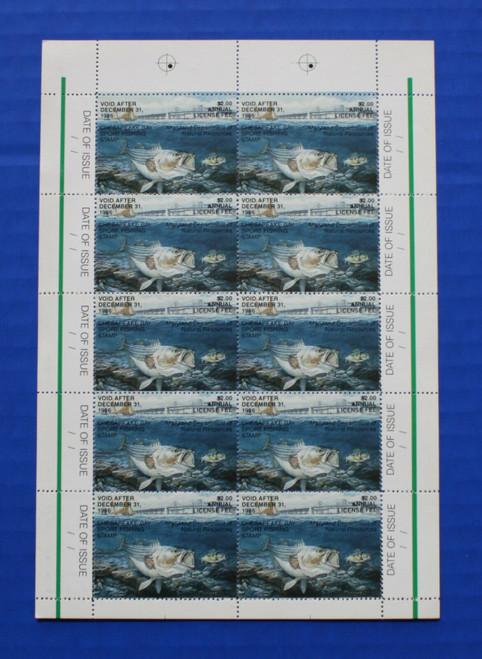 U.S. (MDCB04) 1986 Maryland Chesapeake Bay Sport Fishing Stamp sheet