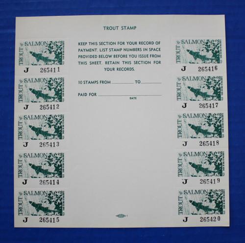 U.S. (MITS11) 1978 Michigan Trout & Salmon Stamp Sheet