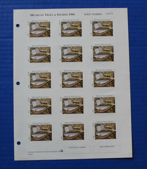 U.S. (MITS29) 1996 Michigan Trout & Salmon Stamp Sheet