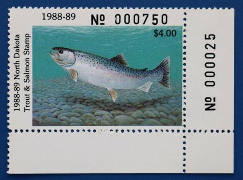 U.S. (NDTS05) 1988-89 North Dakota Trout & Salmon Stamp (plate # single)