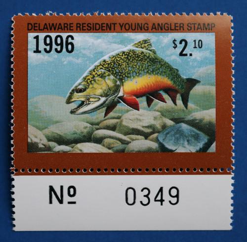 U.S. (DET78) 1996 Delaware Resident Young Angler Stamp (plate # single)