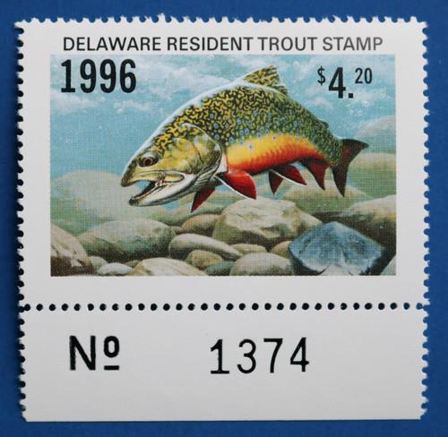 U.S. (DET79) 1996 Delaware Resident Trout Stamp (plate # single)
