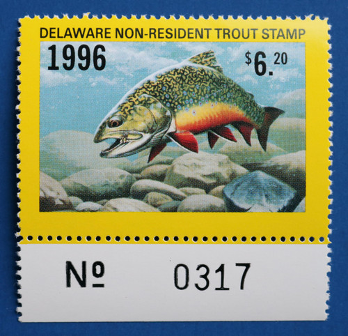 U.S. (DET80) 1996 Delaware Non-Resident Trout Stamp (plate # single)