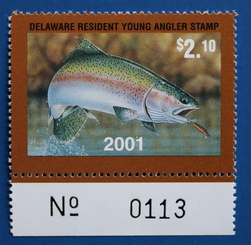 U.S. (DET93) 2001 Delaware Resident Young Angler Stamp (plate # single)