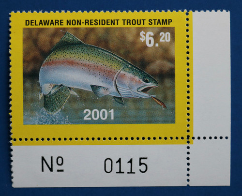 U.S. (DET95) 2001 Delaware Non-Resident Trout Stamp (plate # single)