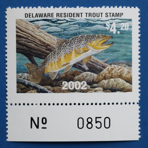 U.S. (DET97) 2002 Delaware Resident Trout Stamp (plate # single)