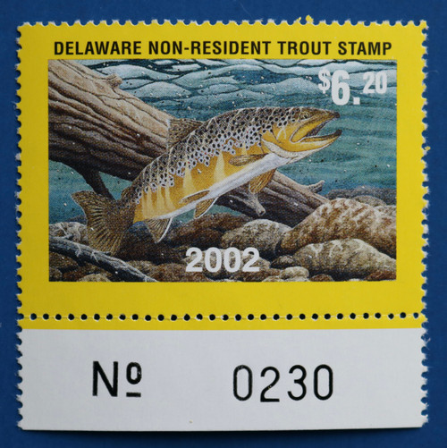 U.S. (DET98) 2002 Delaware Non-Resident Trout Stamp (plate # single)