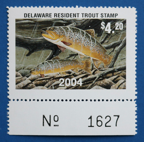 U.S. (DET103) 2002 Delaware Resident Trout Stamp (plate # single)