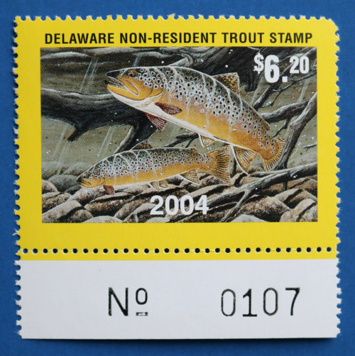 U.S. (DET104) 2004 Delaware Non-Resident Trout Stamp (plate # single)