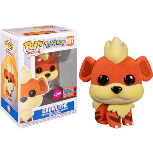 Funko Pop! Games: Pokemon - Growlithe (#597) [Flocked] 2020 Fall Con