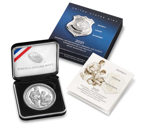 U.S. Mint - 2021  National Law Enforcement Memorial and Museum Proof Silver Dollar (21CC)