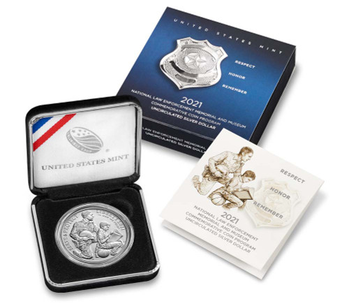 U.S. Mint - 2021  National Law Enforcement Memorial and Museum Uncirculated Silver Dollar (21CD)