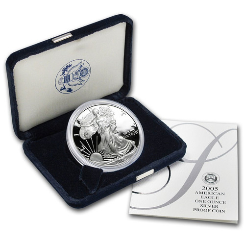 2005 (W) Silver American Eagle One Ounce Proof Coin with Box & COA