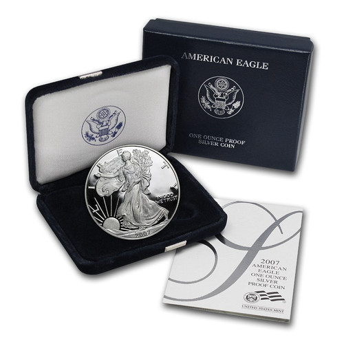 2007 (W) Silver American Eagle One Ounce Proof Coin with Box & COA