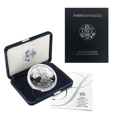 2004 (W) Silver American Eagle One Ounce Proof Coin with Box & COA