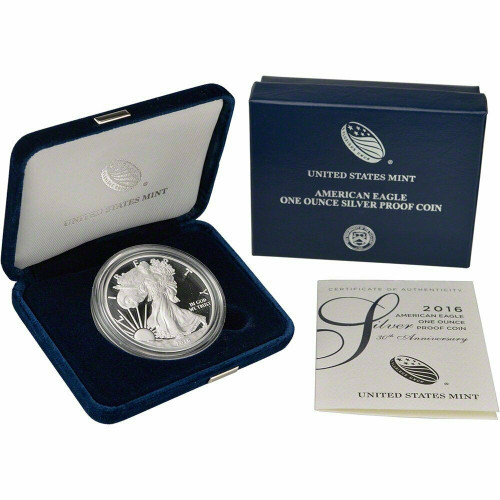 2016 (W) Silver American Eagle One Ounce Proof Coin with Box & COA