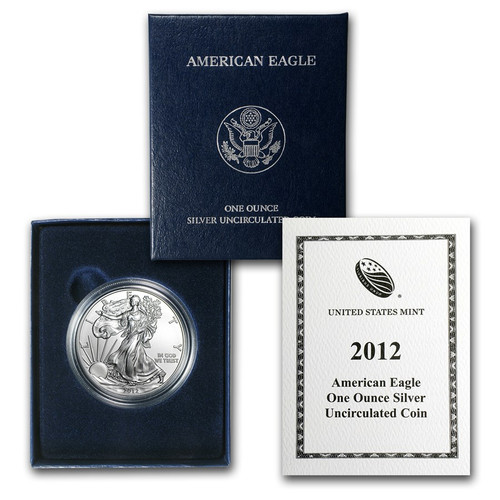 2012 (W) Burnished Silver American Eagle One Ounce Coin with Box & COA