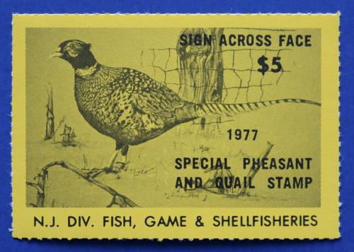 1977 New Jersey Pheasant & Quail Stamp (NJPQ03)
