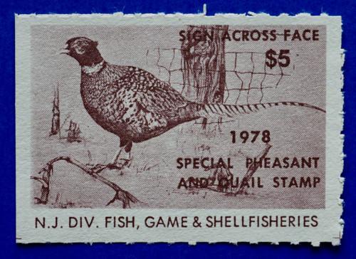 1978 New Jersey Pheasant & Quail Stamp (NJPQ04)