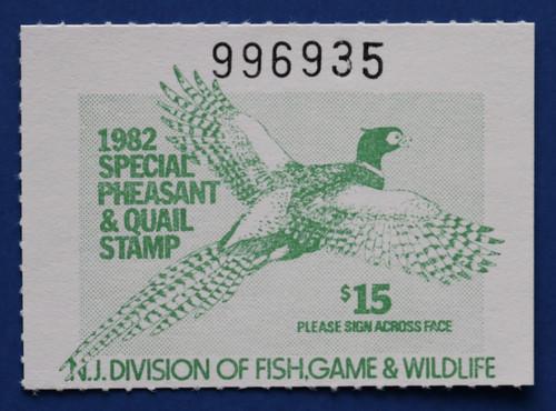 1982 New Jersey Pheasant & Quail Stamp (NJPQ08)