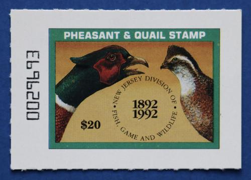 1992 New Jersey Pheasant & Quail Stamp (NJPQ18)