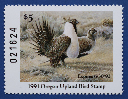 1991 Oregon Upland Game Bird Stamp (ORUB02)