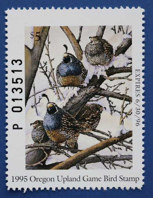 1995 Oregon Upland Game Bird Stamp - booklet single (ORUB06h)