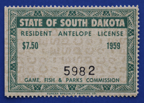 1959 South Dakota Antelope License Stamp (SDAN01)