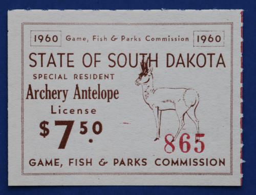 1960 South Dakota Antelope Archery License Stamp (SDAA02)