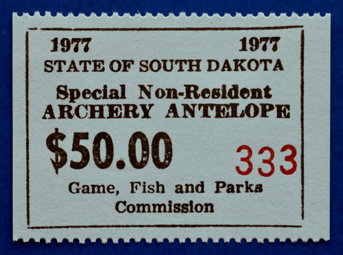 1977 South Dakota Non-Resident Antelope Archery Stamp (SDAA31)