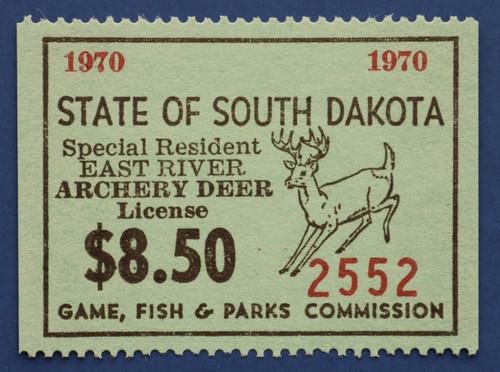 1970 South Dakota Deer - East River Archery License Stamp (SDER07A)